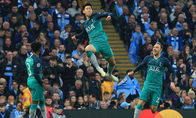 Tottenham Hotspur's South Korean striker Son Heung-Min celebrates scoring his team's second goal during the UEFA Champions League quarter final second leg football match between Manchester City and Tottenham Hotspur at the Etihad Stadium in Manchester on April 18. ─ AFP/File