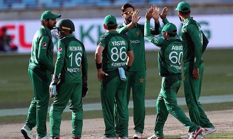 The team celebrates Imad's wicket. — AFP/File