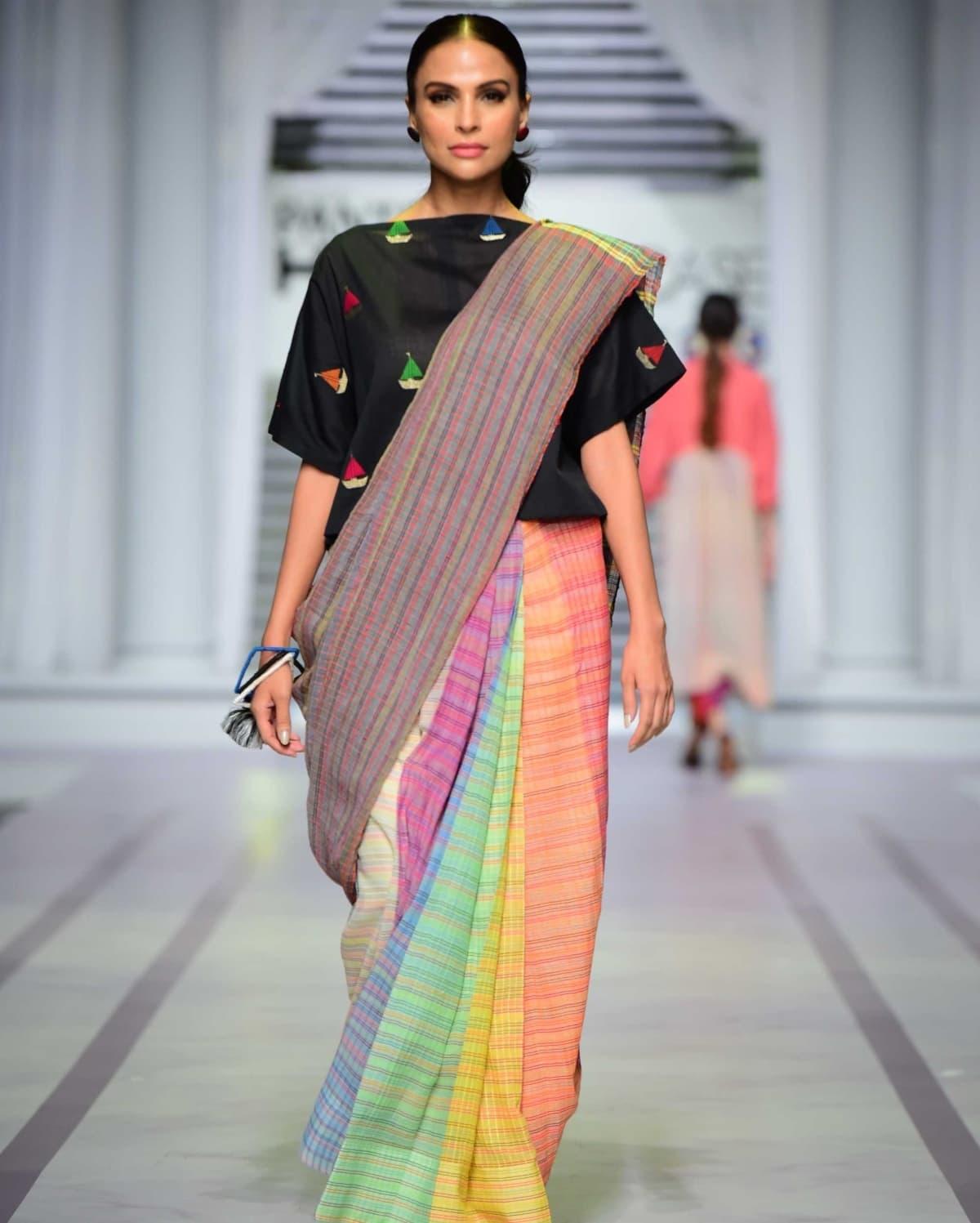 This sari modelled by Fouzia Aman was a hit!