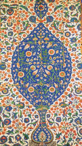 Iznik tile panel circa 1560 from the Mazar of Eyup Sultan, Istanbul, as printed in Anna Pavord's The Tulip.