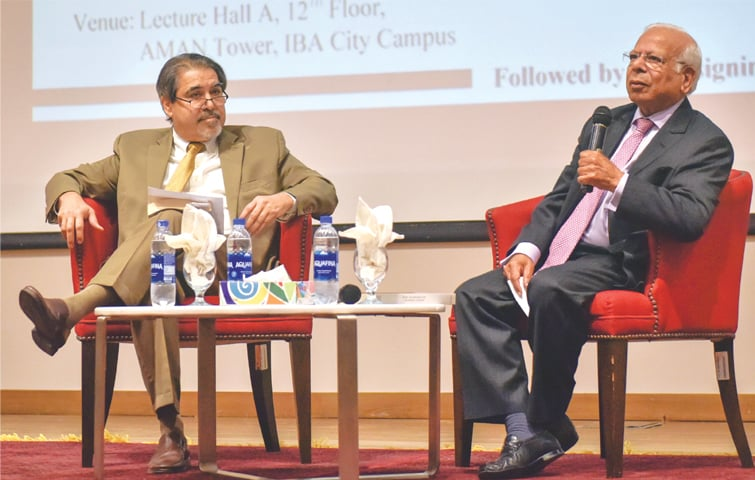Dr Ishrat Husain speaks at IBA on Saturday.—White Star