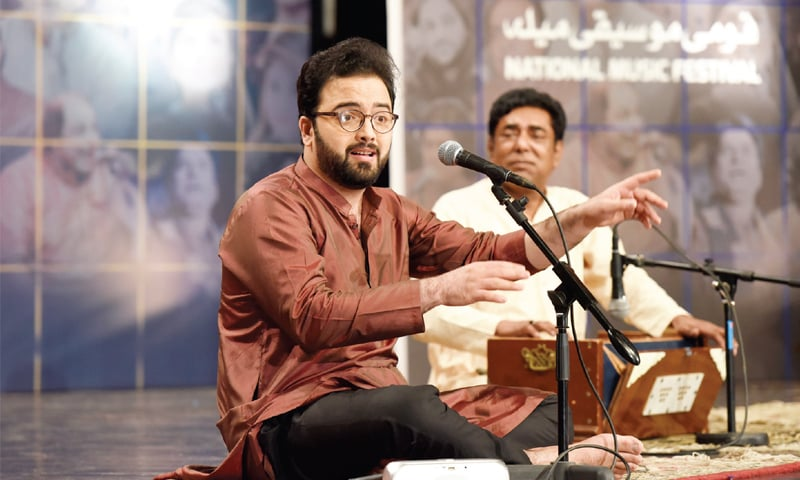 Classical singer Wali Fateh Ali performs during the music festival at PNCA on Saturday. — White Star