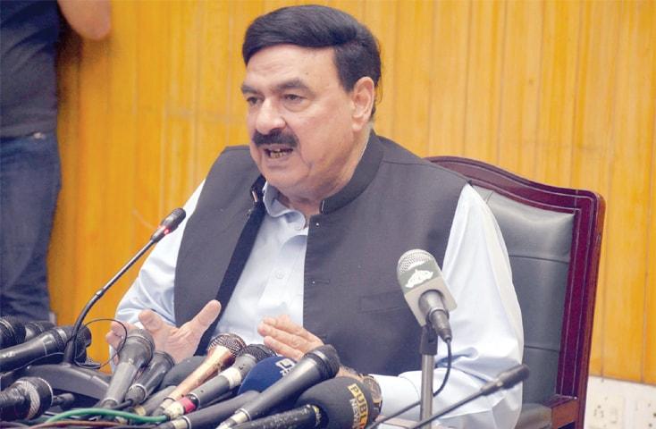 Railways Minister Sheikh Rashid Ahmad addresses a press conference on Saturday.—PPI
