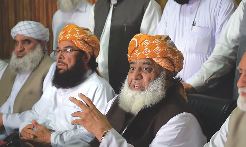 Jamiat Ulema-i-Islam chief Maulana Fazlur Rehman speaks to media on Saturday.—White Star