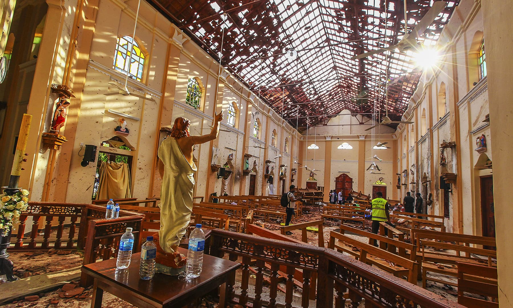 A view of St Sebastian's Church damaged in a blast in Negombo, north of Colombo, Sri Lanka, Sunday, April 21. — AP