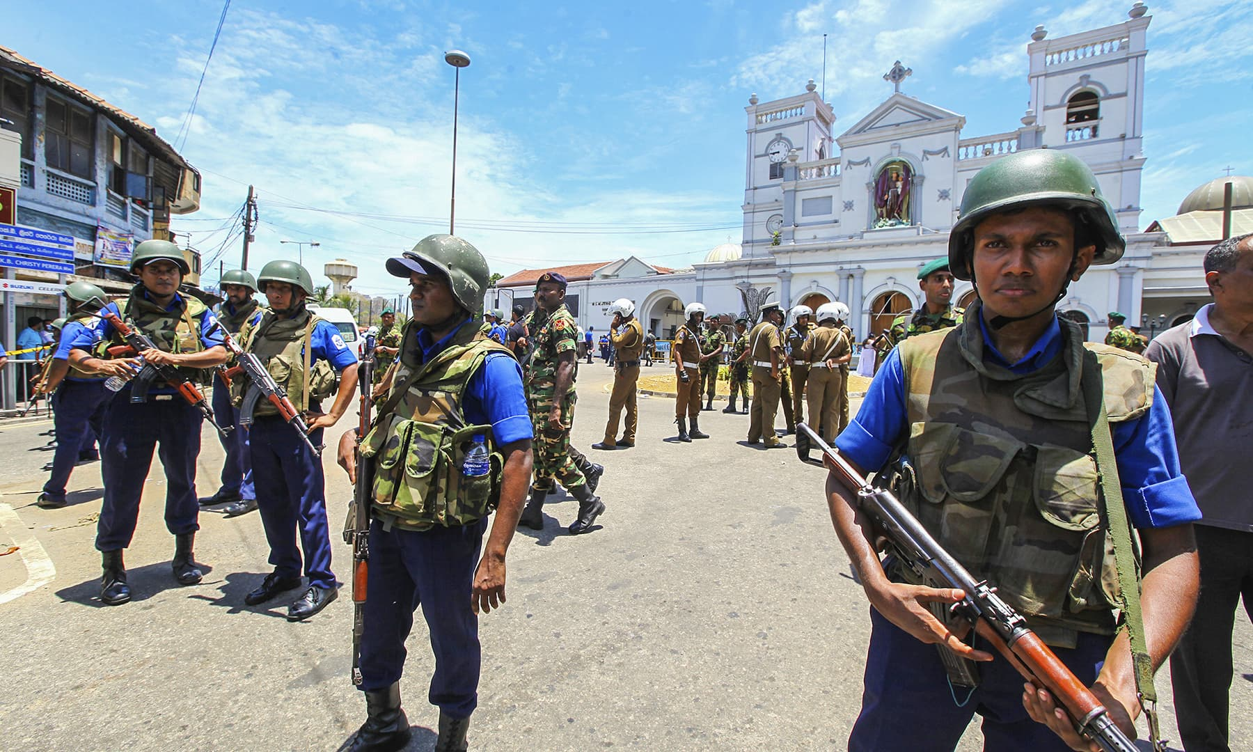 Sri Lankan Army soldiers secure the area around St Anthony Shrine after a blast in Colombo. — AP