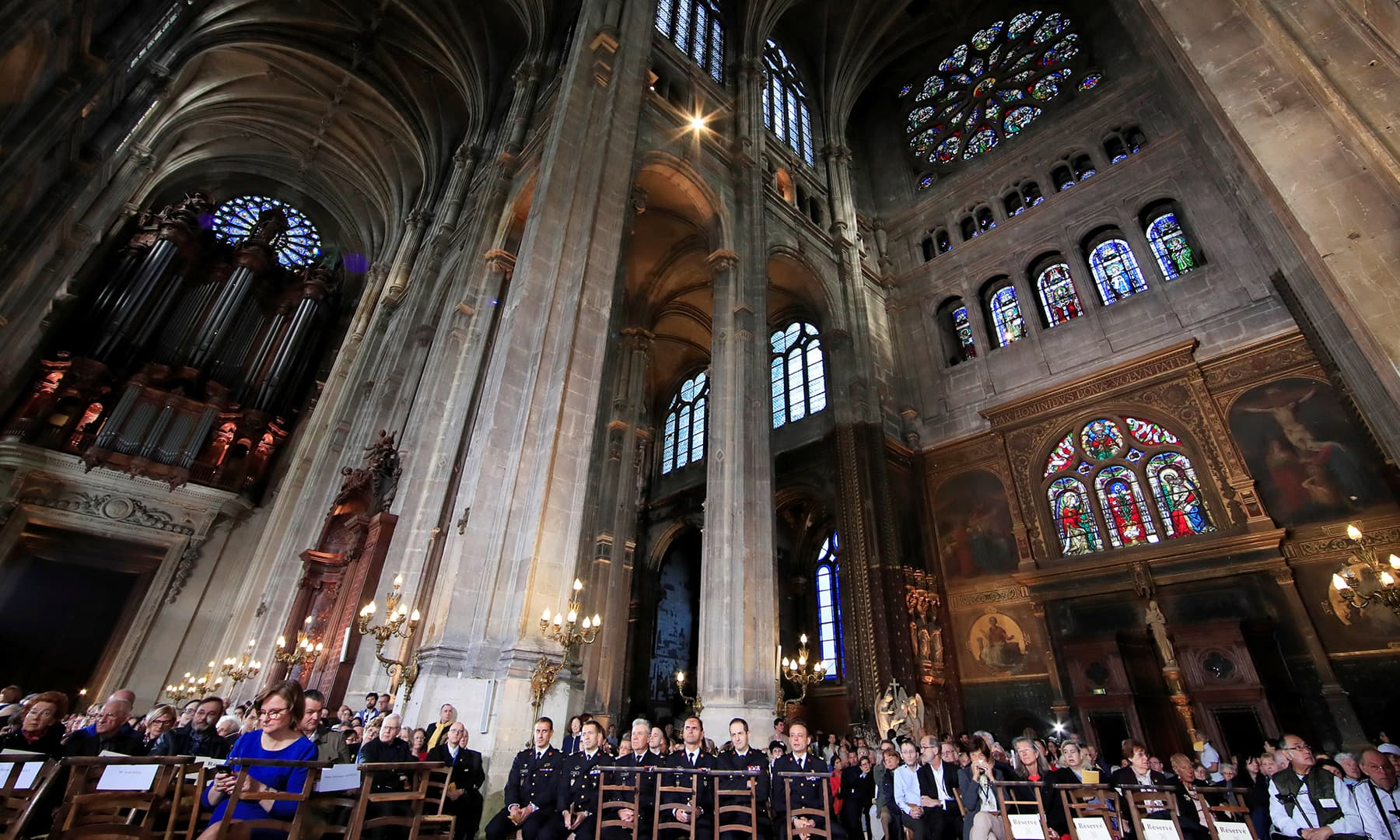 A general view before Easter Sunday Mass at Saint-Eustache, days after a massive fire devastated large parts of the structure of the gothic Notre-Dame Cathedral, in Paris. — Reuters