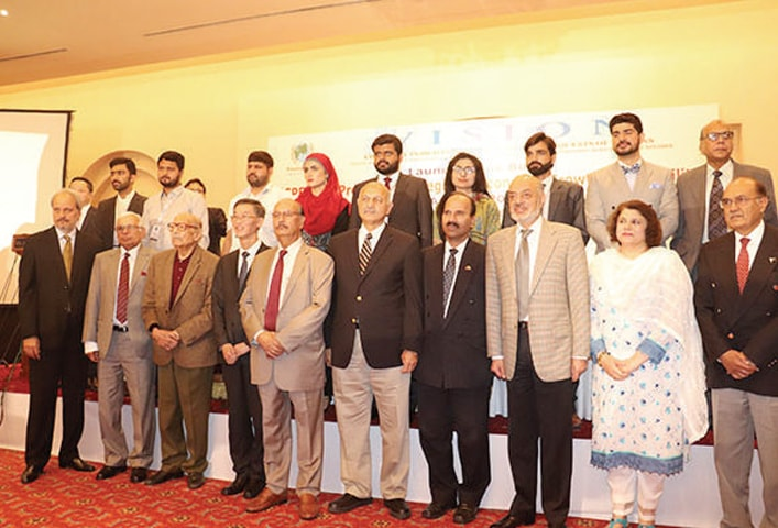 Chinese Ambassador Yao Jing, Senator Mushahid Hussain Syed and other dignitaries at the launch of the book in Islamabad.