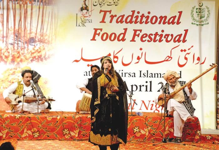 Shabnam Naseem from Khyber Pakhtunkhwa performs at the closing ceremony on Sunday. — White Star