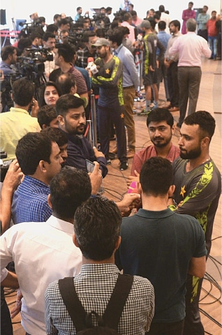 LAHORE: A general view of the mixed zone on Sunday.—White Star