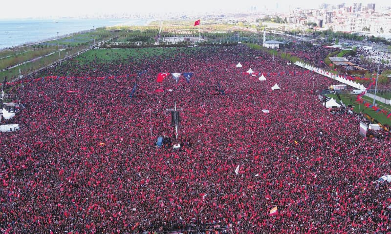 Istanbul: Supporters attend a rally called by the opposition Republican Peoples Party on Sunday.—AFP
