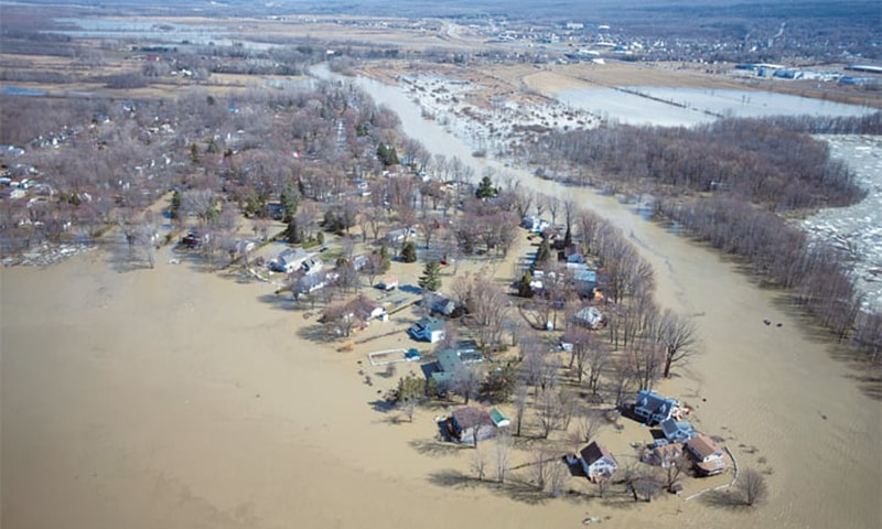 Rigaud (Quebec, Canada): A view of the flooded region from a helicopter. — Reuters