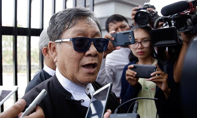 Khin Maung Zaw, lawyer for jailed Reuters journalists Kyaw Soe Oo and Wa Lone, talks to the media after attending a hearing for them at the Supreme Court in Naypyidaw. ─ AFP