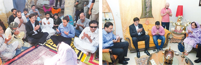 Sindh Chief Minister Syed Murad Ali Shah condoles with the families of Nashwa (right) and Ismat on Wednesday.