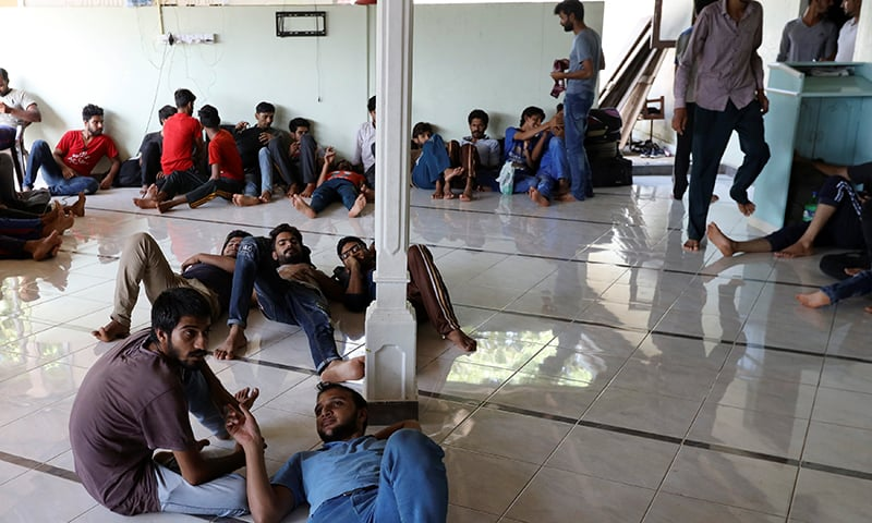 Pakistan refugees rest inside a mosque in Negombo, Sri Lanka on April 25, 2019. — Reuters/Athit Perawongmetha