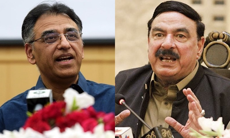 Minister for Railways Sheikh Rashid (L) will reportedly seek another meeting with ex-finance minister Asad Umar (R) upon his return from China. — Dawn.com