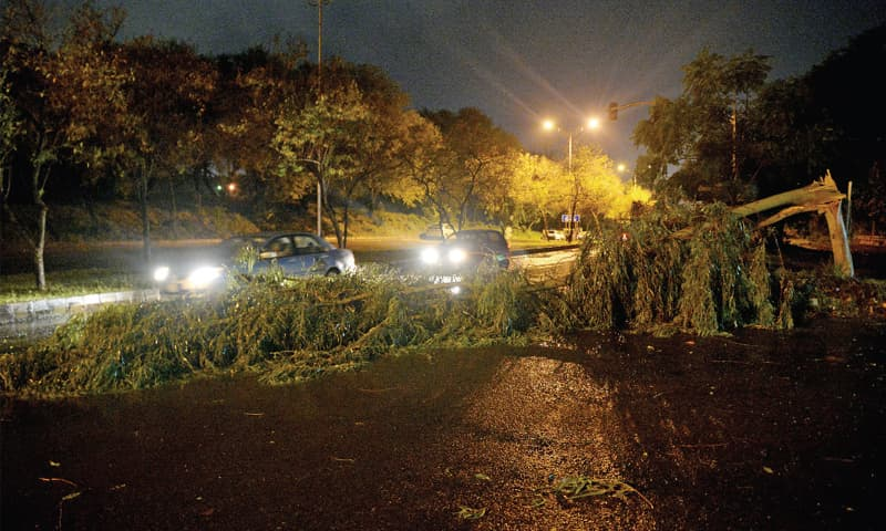 A tree uprooted during storm has blocked Khayaban-i-Suharwardi. — Photo by Mohammad Asim