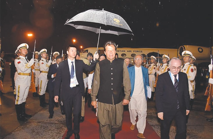 Prime Minister Imran Khan pictured upon his arrival at Beijing airport on Thursday.