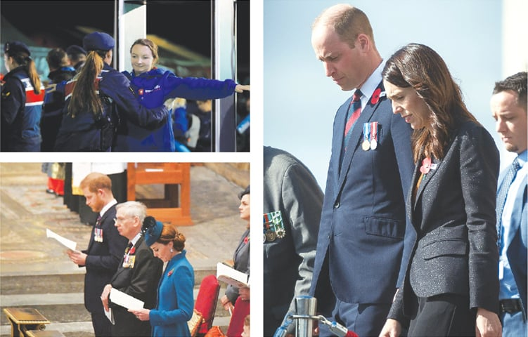 BRITAIN'S Prince William and New Zealand's Prime Minister Jacinda Ardern (right) attend Anzac Day services at the Auckland War Memorial Museum on Thursday. A visitor from Australia goes through security check (top left) before a dawn ceremony marking the 104th anniversary of the World War One battle of Gallipoli at Anzac Cove in the Gallipoli peninsula in Canakkale, Turkey. Britain's Prince Harry and Catherine, the Duchess of Cambridge, attend an Anzac Day service at Westminster Abbey (below left) in London.—Agencies