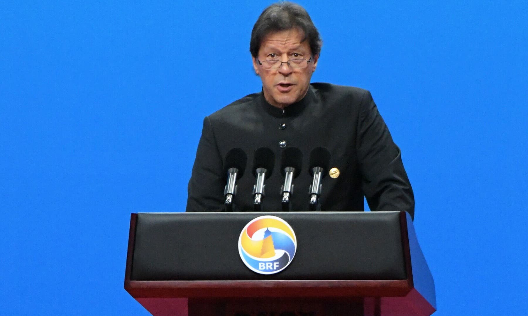 Prime Minister Imran Khan speaks during the opening ceremony of the Belt and Road Forum in Beijing on April 26. — AFP