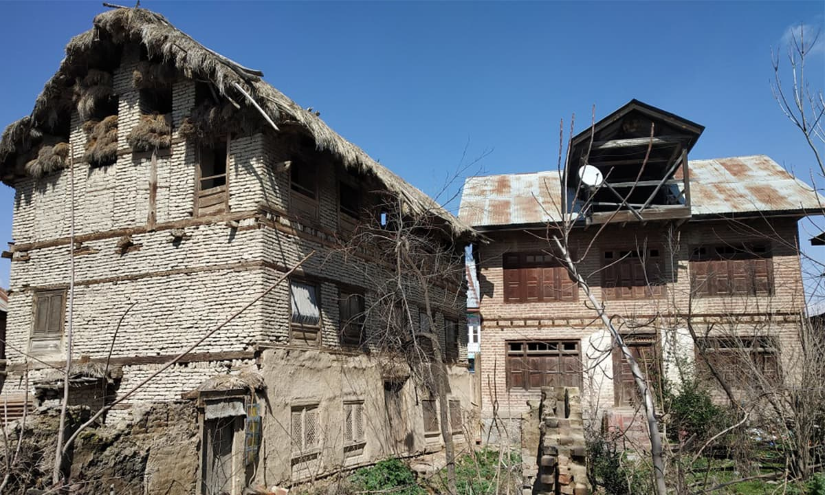 Abandoned Pandit homes in Acchan village