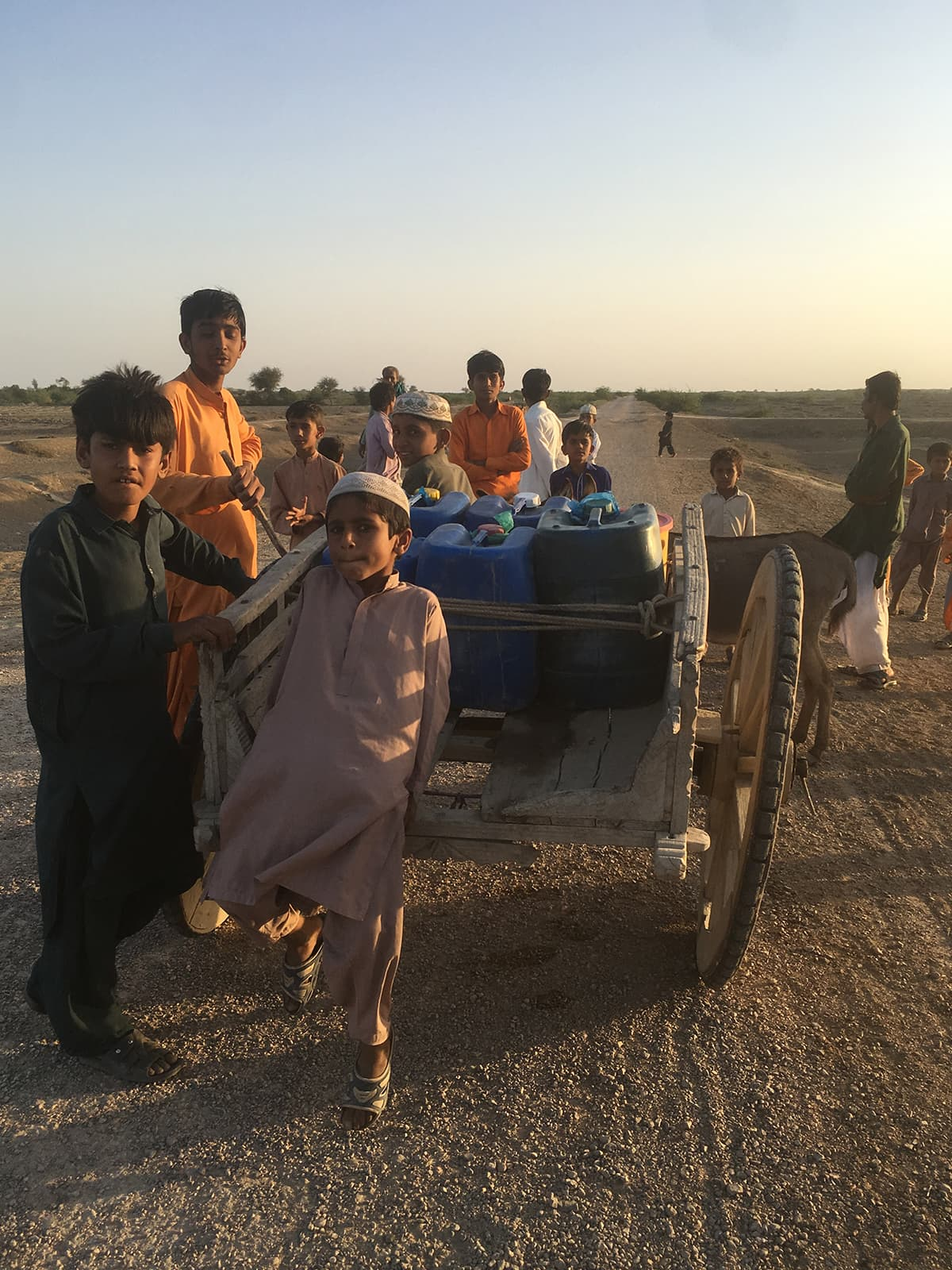Children taking water back to their village