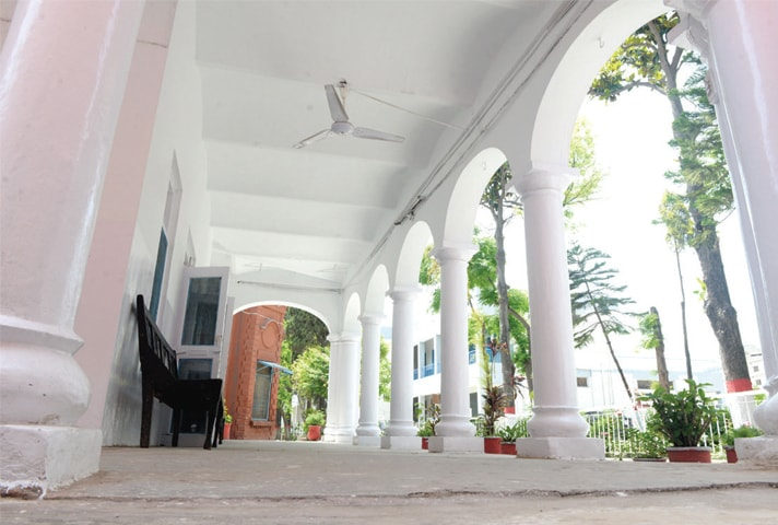 The main building is used for the headmaster's office.