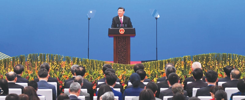 BEIJING: President Xi Jinping speaks at a press briefing on the final day of the Belt and Road Forum on Saturday.—AFP