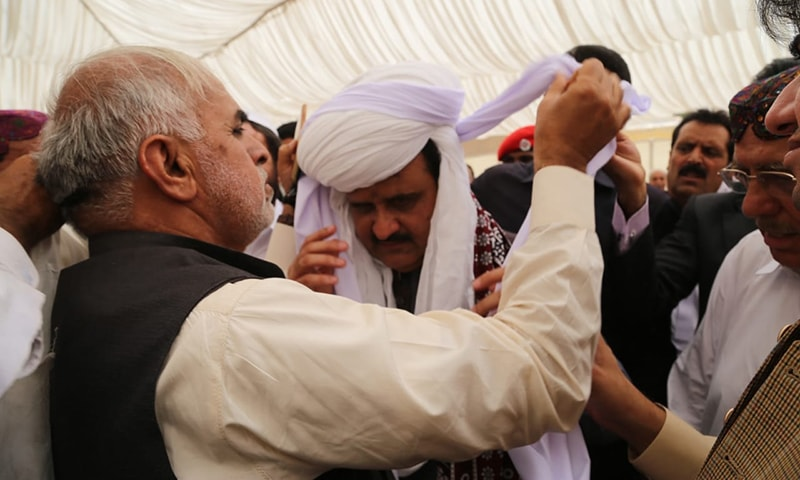 Punjab Chief Minister Usman Khan Buzdar was selected as tribal chief in the traditional ceremony of Pag Bandi. — Photo by author