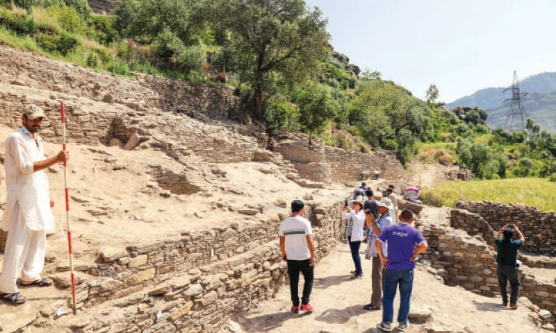 Tourists from Thailand visit the newly-discovered archaeological site in Barikot Swat. — Dawn