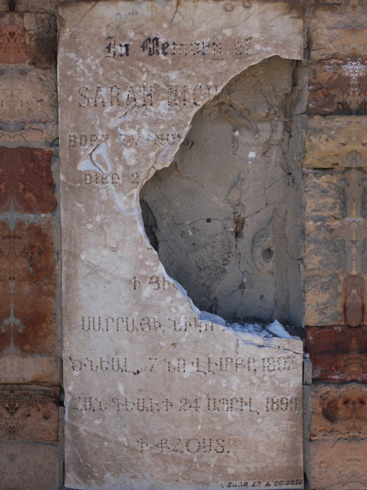 The vandalised tombstone of Sarah Nicholas