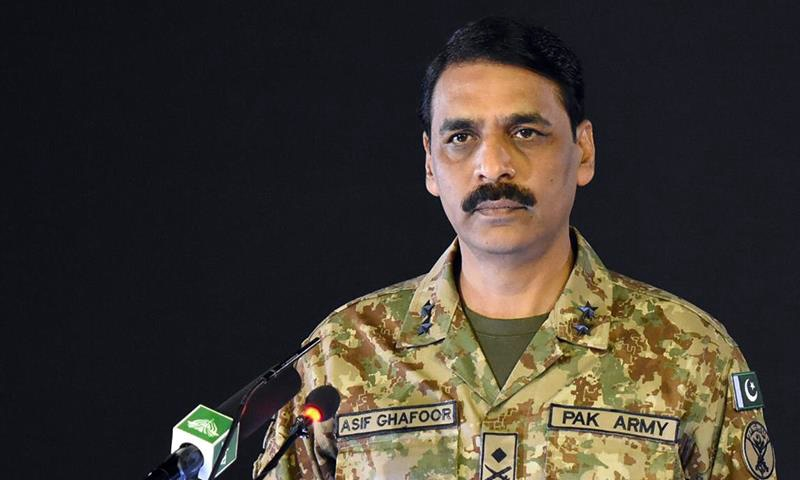 DG ISPR Maj Gen Asif Ghafoor addresses a press conference in Rawalpindi on Monday. — Photo courtesy: ISPR