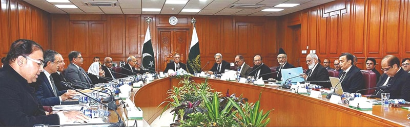 ISLAMABAD: Chief Justice of Pakistan Asif Saeed Khan Khosa presides over a meeting of the National Judicial Policy Making Committee at the Supreme Court building on Monday. — APP