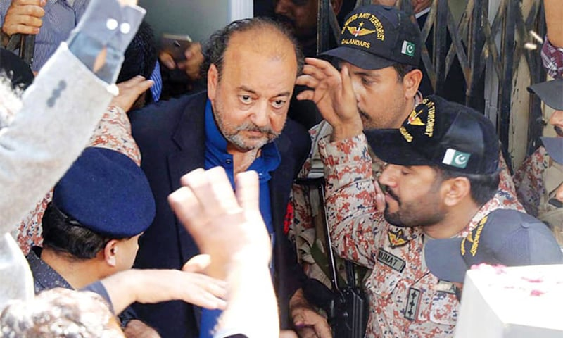 Agha Siraj Durrani coming out of the NAB court. — Online/File
