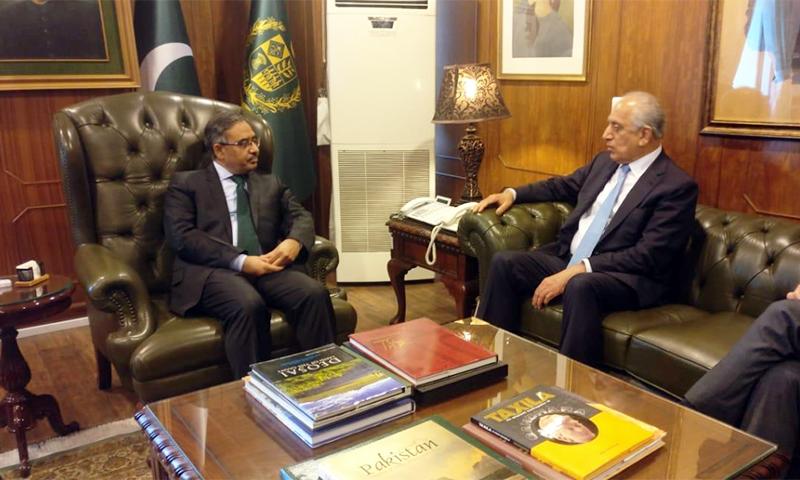 US special envoy Zalmay Khalilzad (R) in a meeting with Foreign Secretary Sohail Mahmood. — PID
