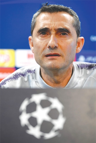 BARCELONA: Barcelona coach Ernesto Valverde holds a press conference at the Joan Gamper Sports City training ground on Tuesday.—AFP