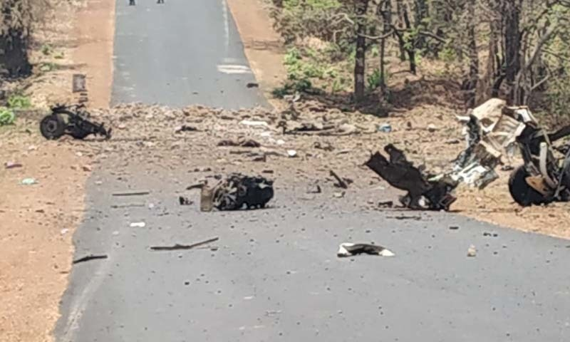 Suspected leftist insurgents killed at least 15 police and a civilian driver in a landmine attack on two security vehicles on Wednesday in the western state of Maharashtra in India, police said, as the state celebrated its foundation day. — Photo courtesy ANI Twitter