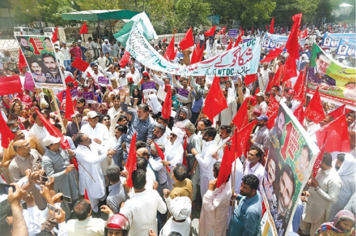 Workers belonging to the All Pakistan Workers Confederation-affiliated trade union hold a rally in front of the Lahore Press Club to mark the International Labour Day. — White Star