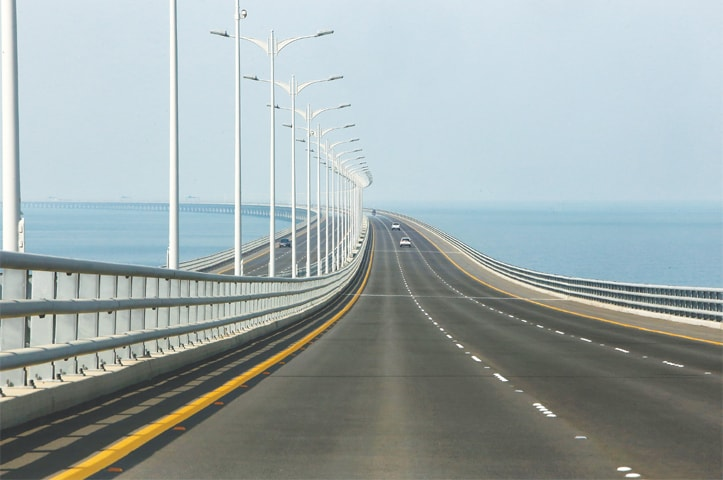 A view of the Sheikh Jaber causeway.—AFP