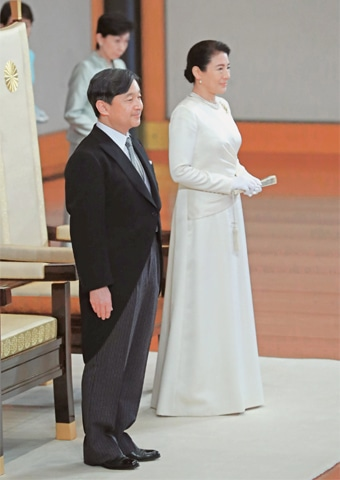 Tokyo: Japan's new Emperor Naruhito (left) and Empress Masako attend an event to celebrate the accession to the throne at the Imperial Palace on Wednesday.—AFP