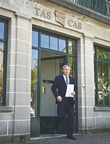 LAUSANNE: Court of Arbitration (CAS) secretary general Matthieu Reeb arrives to read the verdict in Caster Semenya's appeal against the IAAF testosterone rules on Wednesday.—AP