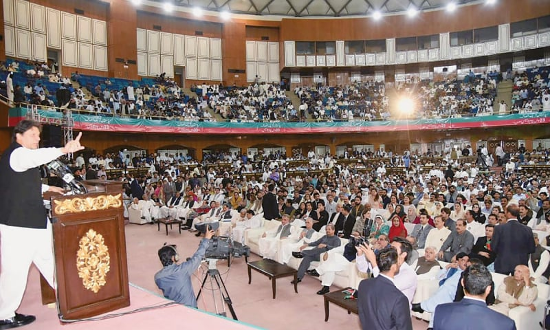 PRIME Minister Imran Khan addresses the PTI's foundation day ceremony on Wednesday.—PPI