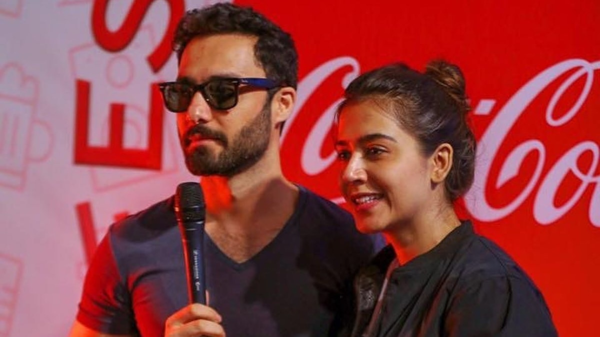 Lead stars Ahmed Ali Akbar and Mansha Pasha at a promotional event for Laal Kabootar