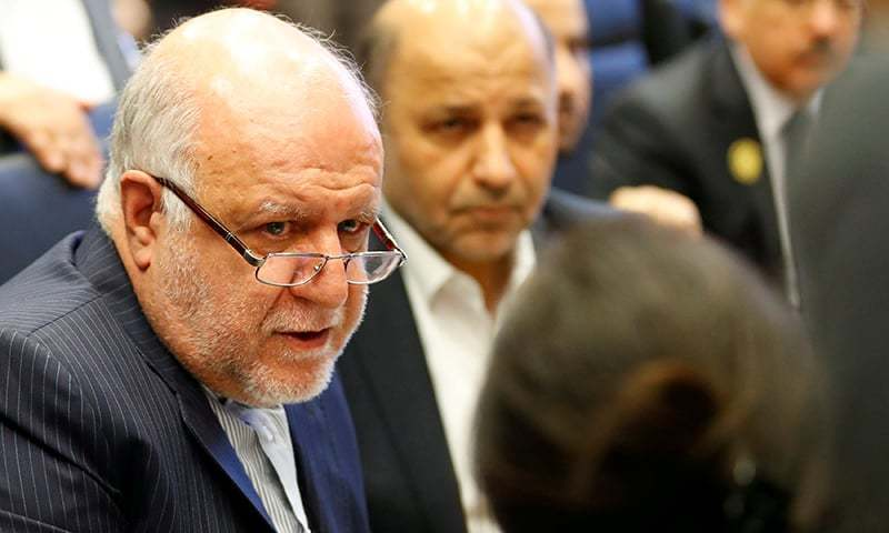 This file photo shows Iran's Oil Minister Bijan Zanganeh talking to journalists at the beginning of an OPEC meeting in Vienna, Austria. — Reuters/File