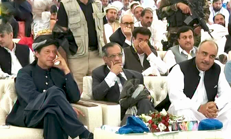 Prime Minister Imran Khan (front left) and former chief justice Mian Saqib Nisar (front centre) attend the groundbreaking ceremony of the Mohmand Dam. ─ DawnNewsTV