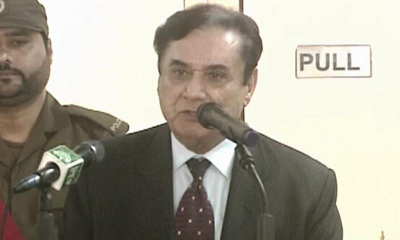 NAB Chairman Justice (retd) Javed Iqbal speaks at a ceremony in Multan on Thursday. — DawnNewsTV