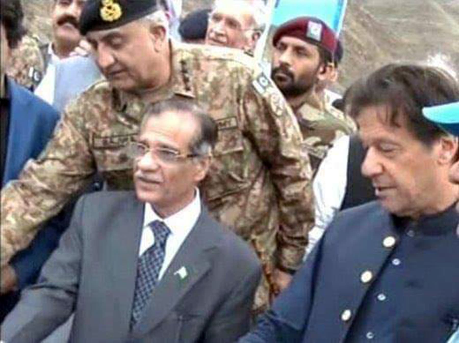 PM Imran, Ex-CJP Nisar, and Army chief Bajwa pictured during the ceremony. — Radio Pakistan