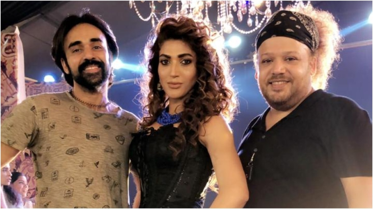 Wahab Shah with Sana Fakhar and costume designer Hunny Haroon