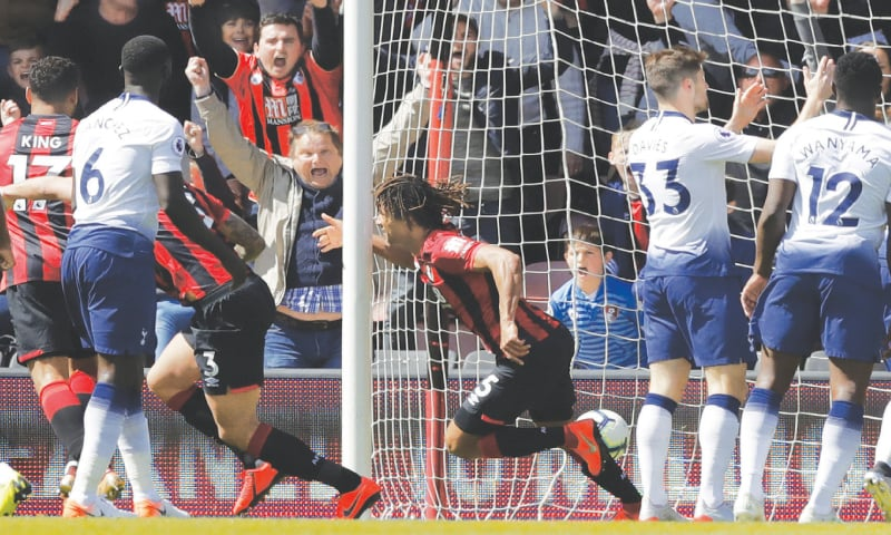 BOURNEMOUTH: AFIC Bournemouth's Nathan Ake (C) celebrates after scoring against Tottenham Hostpur during their English Premier League match at the Vitality Stadium on Saturday.—AP