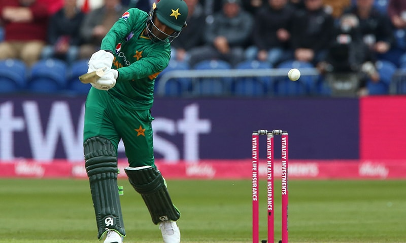 Fakhar Zaman hits this shot straight to England's Eoin Morgan (not pictured) for the first wicket during the international Twenty20 cricket match between England and Pakistan. — AFP